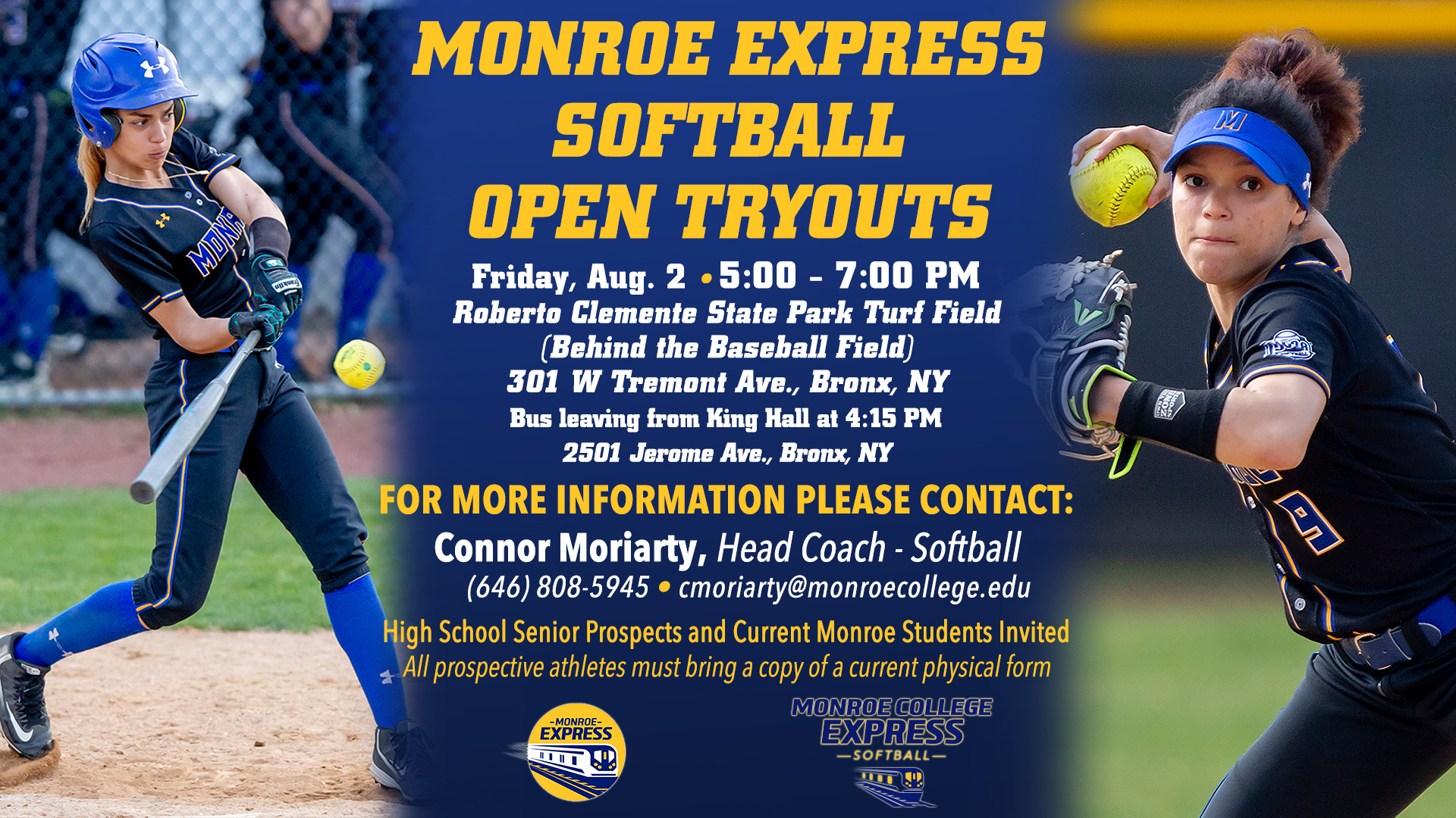 SCHEDULE UPDATE: Monroe Express Softball Open Tryouts Rescheduled to